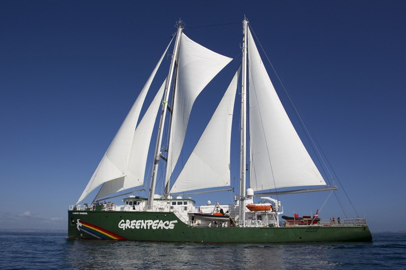 The new Rainbow Warrior sails in to Auckland for the first time, where she was welcomed by Ngati Whatua. The first Rainbow Warrior was bombed in the cityÕs harbour by French secret service agents in 1985. The Greenpeace ship will be spending the next few weeks visiting ports around the country. Greenpeace/Nigel Marple