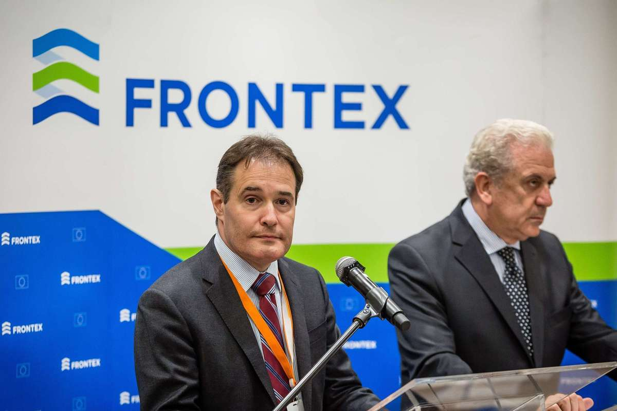 EU Commissioner Dimitris Avramopoulos (R) and Fabrice Leggeri (L), head of European border control agency Frontex are seen during a press conferance in Warsaw, on May 21, 2015. AFP PHOTO / WOJTEK RADWANSKI